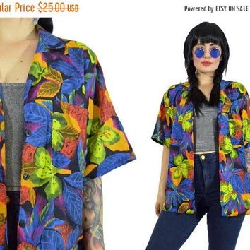 25%SALE vintage 90s tropical shirt VIVID floral print hawaiian tropical top pastel grunge neon island beachy summer blouse grunge medium