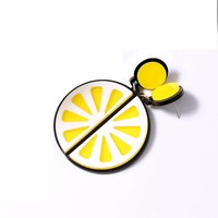 H:HYDE Fun Creative Exaggerated Personality Acrylic Alloy Brincos Fruit Orange Lemon Shape Stud Earrings For Women Hot Jewellry