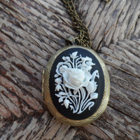 White Rose Locket Cameo Necklace