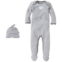Burt's Bees Baby™ Organic Cotton 2-Piece Footed Coverall and Hat Set in Grey Stripe