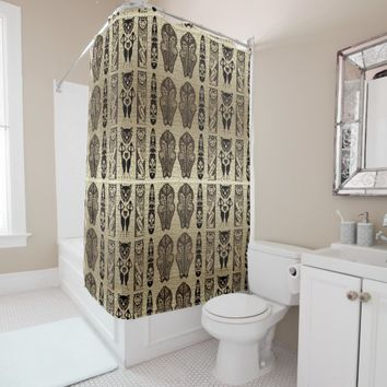 Gold and Black African Style Motif Design Shower Curtain