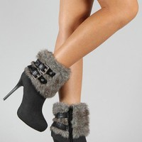 Keyson Fur Buckle Almond Toe Ankle Bootie