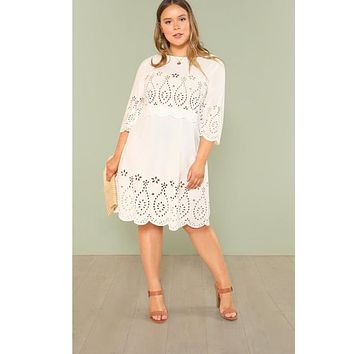 Laser Cut Insert Scalloped Hem Dress