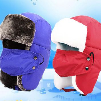 Free Shipping 2017 New Kids Children Fashion Winter Ski Russian Black Blue Fur Trapper Hats With Ear Flap Masks For Boys Girls