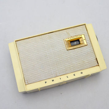 Vintage Philco 500 Transistor Radio, Model T-500 124, Ivory Black and Gold Tone Case, 1950s, Works