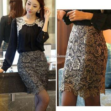 Fashion Women Hollow Crochet Lining Cocktail Bodycon Gold Pencil Mini Skirt