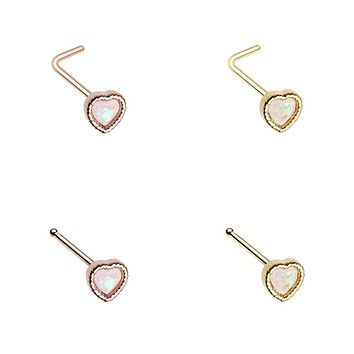 Golden & Rose Gold Glitter Opal Heart Shape L-Shape & Stud Nose Ring