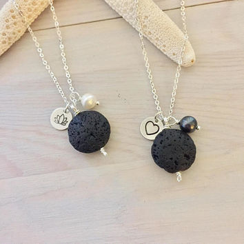 Lava Stone Charm Necklace - Essential Oil Jewelry - Lava Bead Necklace - Aromatherapy Necklace - Oil Diffuser Necklace - Stone Pearl Charms