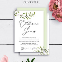 Personalized Wedding Invitation, Greenery Wedding, Rustic Greenery Printable, Green Leaves, Nature Invites, Modern Wedding, Botanical