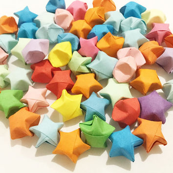 Origami Lucky Stars | Plain Mixed Wishing Star | Handmade Paper Stars | Craft Party Wedding Thanksgiving Christmas Decoration Confetti