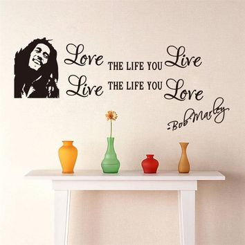 Bob Marley Quotes Vinyl Wall Decals Poster Wall Art Wallpaper Wall Stickers Home Decoration