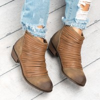 Burnished Faux Leather Booties