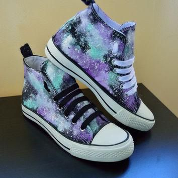 Custom hand made cosmic galaxy canvas hi top trainers(similar to Converse style) Lilac