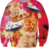 Bacon Pizza Space Cat Sweatshirt