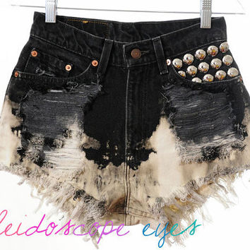 Vintage Levis Ombre Tie Dye Denim Destroyed High Waist STUDDED Cut Off  Shorts XS