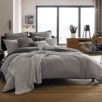 Kenneth Cole Reaction Home Oxford Reversible Duvet Cover in Grey Stripe
