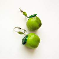 Green Apple earrings, handmade funny bright jewelry, summer jewelry, green fruit jewelry