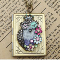 Steampunk Owl 0510b Locket Necklace Vintage Style by sallydesign