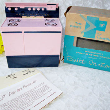 Rare Recipe Box Recipes & Card Guides NIB Westinghouse Oven Stove Vintage Salesman Demo Plastic Range Kitchen Home Decor Recipe Storage