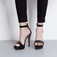 Patent Leather Ankle Strap Platform Women's High Heel Sandals 2 Colors