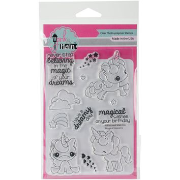 """Pink & Main Clear Stamps 4""""""""X6""""""""-Magical Unicorns"""
