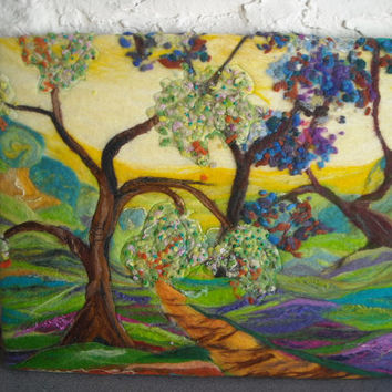 abstract tree art, felt art, felt picture