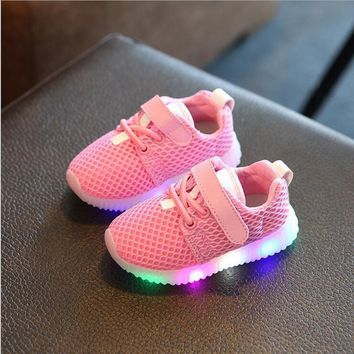 Eur21-30 kids new fashion children shoes with led light up shoes luminous glowing snea