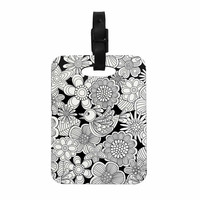 """Julia Grifol """"Welcome White Birds"""" Black Floral Decorative Luggage Tag"""