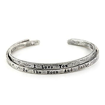 I Love You to The Moon and Back Bracelet Set Silver Tone BD47 Retro Cuff Fashion Jewelry