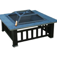 Sturdy Fire Pit Metal Frame With Safety Mesh Screen Lid Outdoor Patio Furniture