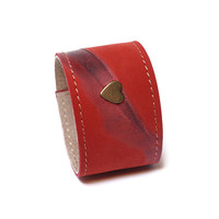 Leather bracelet, leather accessories, cuff bangle adjustable modern leather jewelry stylish unique, gift for her, vintage red leather