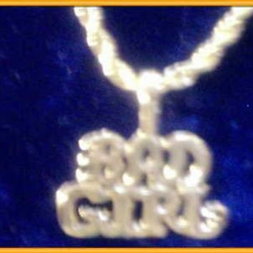 "bling 14K gold plated bad girl word saying charm 24"" rope chain hip hop necklace"