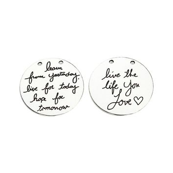 10 Pieces/Lot Dia 30mm Letter Printed Live The Life You Love Round Words Charms Antique Silver Charms For Jewelry Making F3729