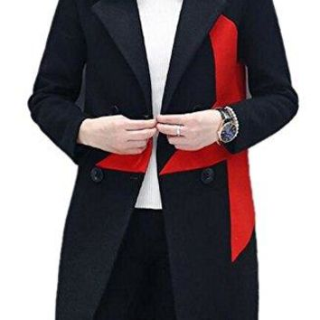 Women's Black Double-Breasted Casual Slim Fit Midi Lapel Trench Wool Coat