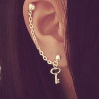 Heart Key Charm Double Lobe/Cartilage Chain Earring