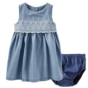 Baby Girl OshKosh B'gosh® Eyelet Chambray Dress
