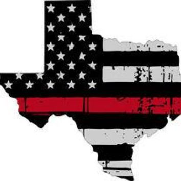 Thin Red line decal - State of Texas Grey Tattered Flag - Various Sizes