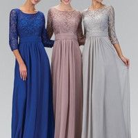 Long A-line Silver Gray Modest Bridesmaid Dresses 2017 With 3/4 Sleeves Chiffon Lace Formal Floor Length Wedding Party Dresses