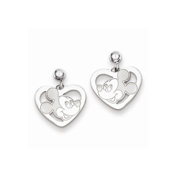 Sterling Silver or Yellow Gold Plated Disney Mickey Heart Dangle Post Earrings