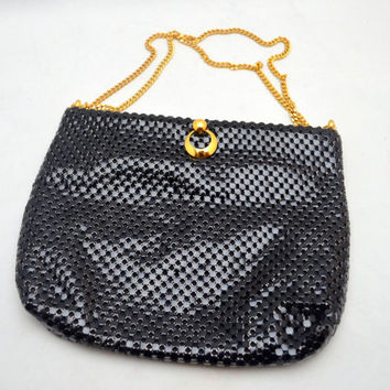 Vintage Whiting and Davis Black Mesh Purse, Gold Tone Chain Strap, Squeeze Open Frame, 1980s