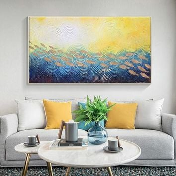 Original Acrylic Abstract Gold fish in the Sea waves painting on canvas nordic extra Large navy blue ocean Wall Art Picture abstractos