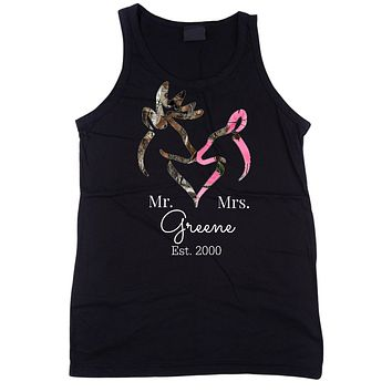 Mr and Mrs Personalized Camo Buck and Doe Tank Top