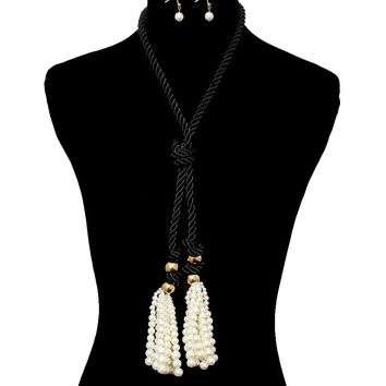 "18"" faux pearl black rope knot 3.50"" tassel necklace .65"" earring"