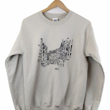 Streets of Paris Beige Graphic Crewneck Sweatshirt