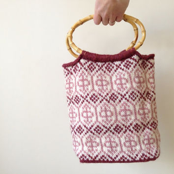Wool Purse / Cream and Pink Purse / Hand Knit Bag / Mother's Day gift