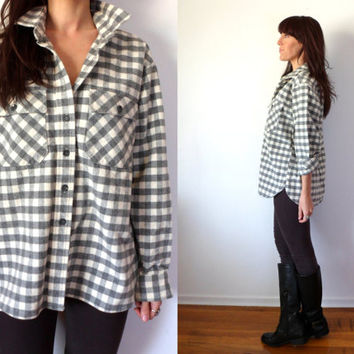 L.L.Bean Chamois Cloth Button Down Checkered Flannel Shirt Charcoal Grey & White Plaid Oversized Boyfriend Top