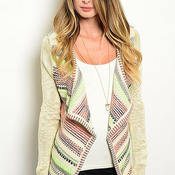 Bright Tribal Aztec Pocket Cardigan