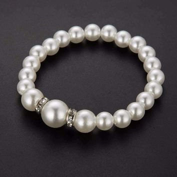 ON SALE - Ivory Pearl  Bead and Crystal Accented Bracelet