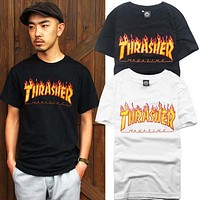 Unisex Thrasher Print Cotton T-Shirt Tee Top