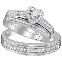 10kt White Gold His & Hers Round Diamond Heart Matching Bridal Wedding Ring Band Set 1/2 Cttw